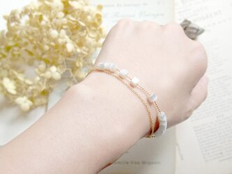 【M様ご注文】フランスビンテージビーズの二連ブレス(White&Grenn cube)の画像