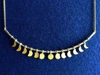 【送料無料】月の満ち欠け ネックレス SILVER&真鍮(受注製作)の画像
