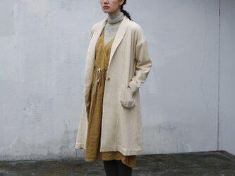 ふんわり軽やか・ロングのウールガーゼ羽織-アイボリー 8514-08008-80の画像