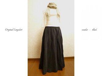 ご注文受付 コットンリネンのシックな定番ロングスカート 黒の画像