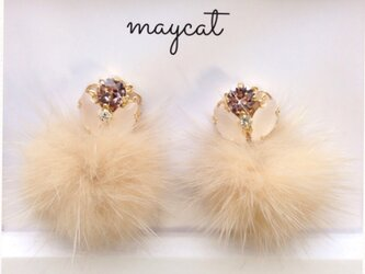 milk tea fur…earringの画像