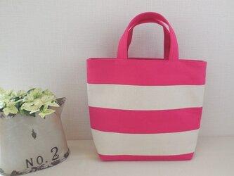 ボーダートートバッグ ピンクの画像