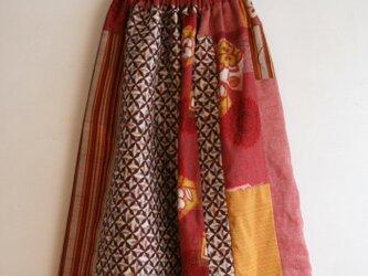 絹綿など パッチワークギャザースカート Fサイズの画像