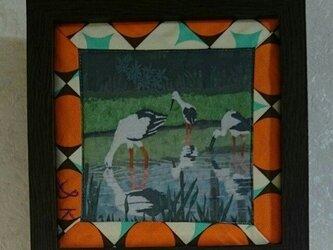 幸せを運ぶ鳥「コウノトリ」のミニ額の画像