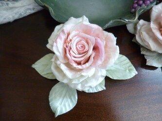 大きな巻き薔薇のコサージュ*ピンクの画像
