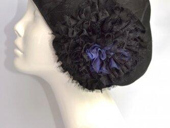 お花ベレー(黒×青)の画像