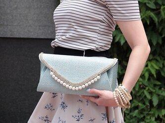 即納 * blue Clutch Bag 2WAY クラッチバッグ * ブルーの画像