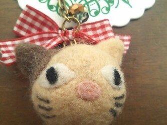 まんまるネコのキーリング(ベージュ)(スマホピアスに変更可)の画像
