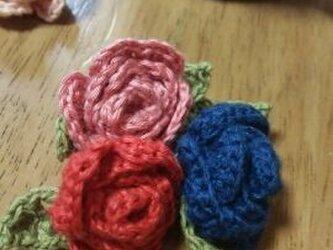 手編み*薔薇のコサージュの画像