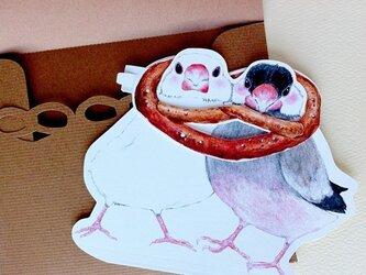 文鳥とプレッツェルカードの画像