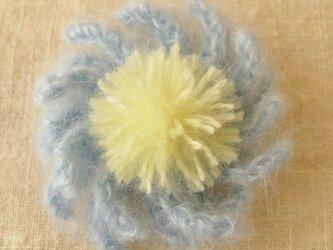 花のコサージュ 水色モヘア(HAC-003-B)の画像