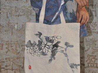 水墨画菊のエコバッグの画像
