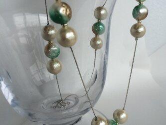 コットンパールとチェーンのネックレス(シルバー)の画像