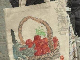 水墨画ライチ、蟷螂のエコバッグの画像