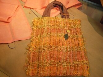 手織り苧麻の手提げの画像