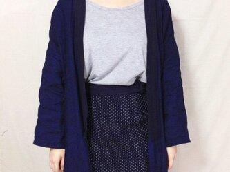 藍染めリネンの羽織りコート 刺し子の画像