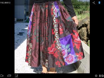 華やかなタック入り銘仙のスカートーー裏付き  3再出品登録ご遠慮願います。の画像