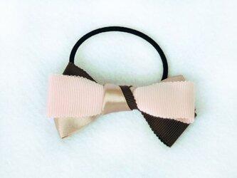 グログランリボン ヘアゴム ピンク&グレー【O3】の画像