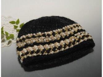 ちょっとフォークロア調のニット帽子(ブラック/ベージュブラウン)の画像