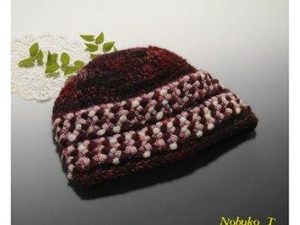ちょっとフォークロア調のニット帽子(ワインレッド/ピンクローズ)の画像