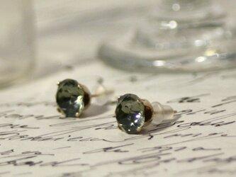 【再販】14kgfヴィンテージスワロフスキーピアス ブラックダイヤモンドの画像