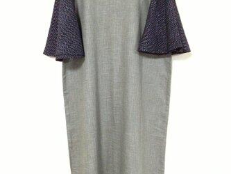 文人柄久留米絣の袖ひらりワンピース の画像