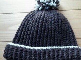 手編み*ニット帽子♪ショコラ色♪の画像
