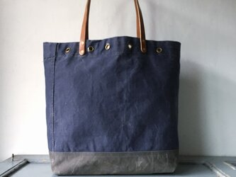 UKヴィンテージキャンバス紺×グレートートバッグ IND_BNP_0265の画像