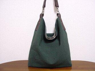 綿麻くったりワンハンドルバッグ(深緑×チョコ色革)の画像