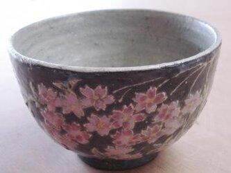 黒い器 抹茶碗 桜の画像