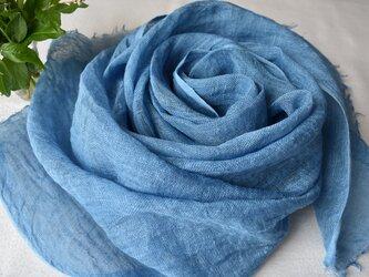 再出品:【藍の生葉染め】リネンストール ⑥ 花染色の画像