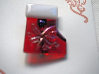 クリスマス ガラスのサンタブーツブローチの画像