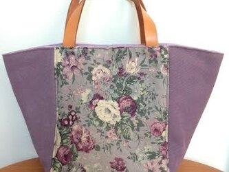帆布の花柄トートバッグの画像