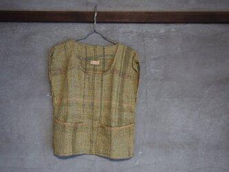 手織り/wool tops  鶸色ノポケットツキ (+orimi)の画像