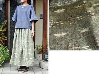 紬のロング丈スカート(蝶・M~L)の画像