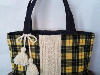 タータンチェック&手編み毛糸 トートバックの画像