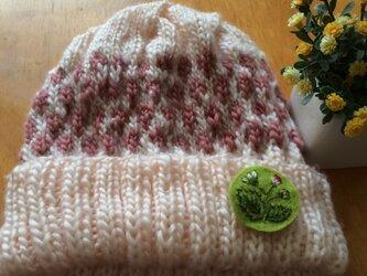 手編みニット帽♪桜の画像