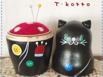 マトリョーシカ針山*黒猫とお裁縫道具の画像