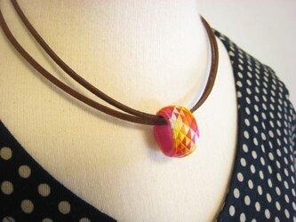 【加賀の指ぬきのネックレス】5色うろこ模様  ❖ オレンジ ❖の画像