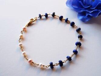 ラピス&淡水パールブレス Le ciel de la nuit Lapis&Pearl bracelet B0024の画像