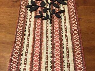 麻の手織ランナー 北欧柄 赤の画像