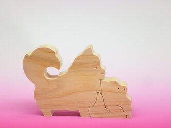 送料無料 木のおもちゃ 動物組み木 ポメラニアンの親子の画像