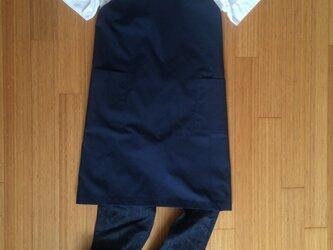 《受注制作》メンズ レザーサスペンダーエプロン 帆布紺の画像