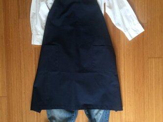 《受注制作》レディース レザーサスペンダーエプロン 帆布紺の画像