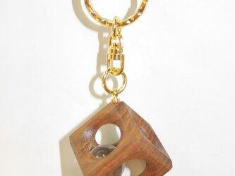 12mm水晶の木包みキーホルダー チーク Dの画像
