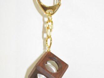 15mm水晶の木包みキーホルダー 花梨 Aの画像