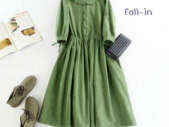 f020(再販)リネンの丸襟ワンピース グリーンの画像