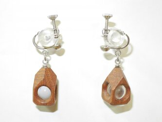 水晶の木包みイヤリング チーク ひし形頭 銀の画像