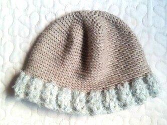 ふわふわウールお帽子  ~ 46cm モカ&スノーグレイの画像