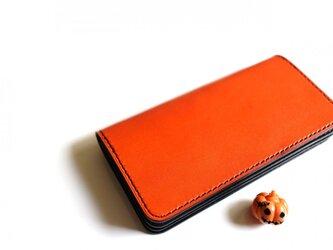 【受注生産品】長財布 ~栃木アニリン橙×栃木サドル~の画像